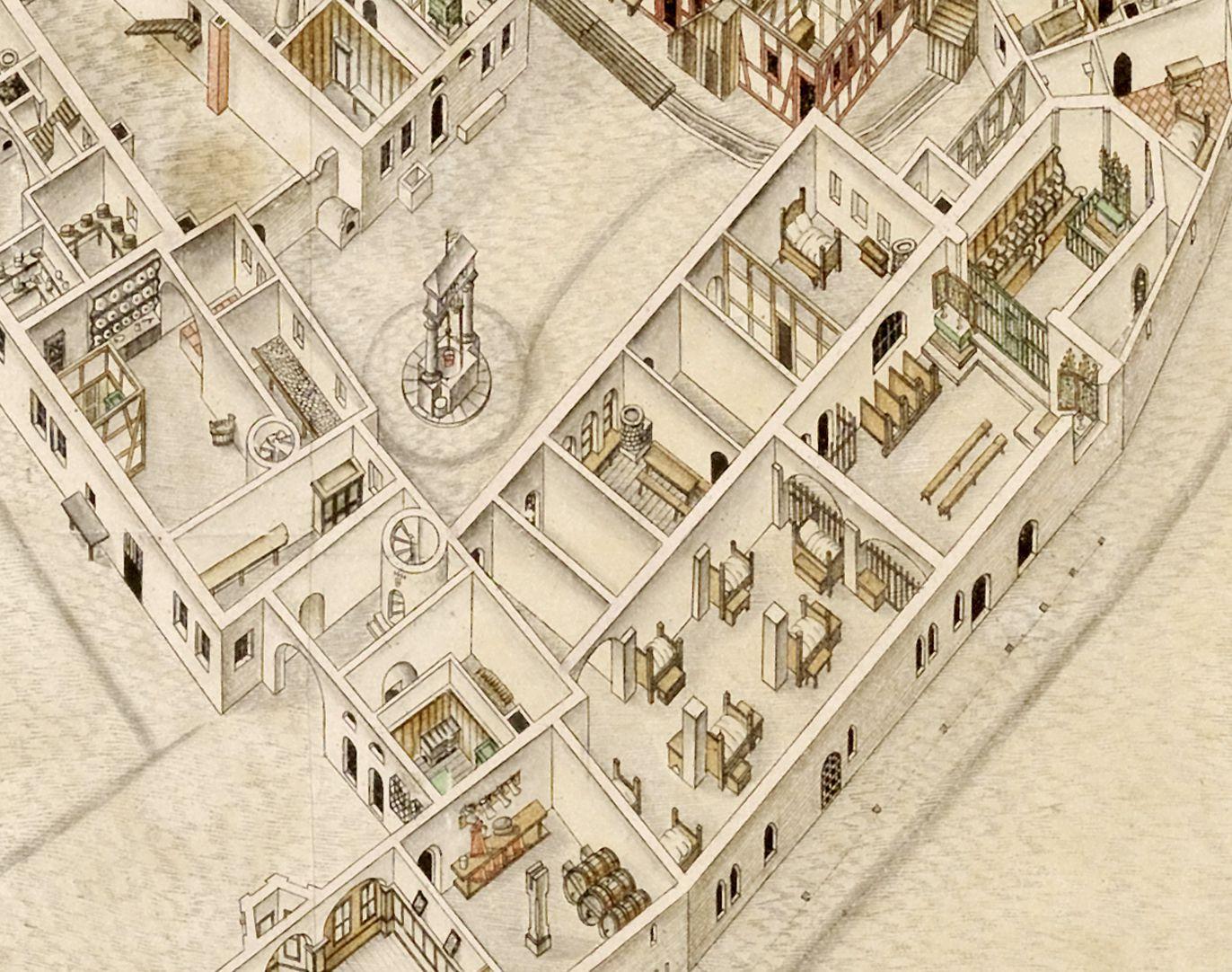 Isometrische Darstellung der Gesamtanlage des Deutschen Hauses in Nürnberg mit Einblick in die Erdgeschosse Spitalhof mit Brunnen, rechts Elisabethkapelle mit ihrem Vorraum (Betten der Pfründner neben den Pfeilern). Links vom Brunnen Speisekammer und Küche
