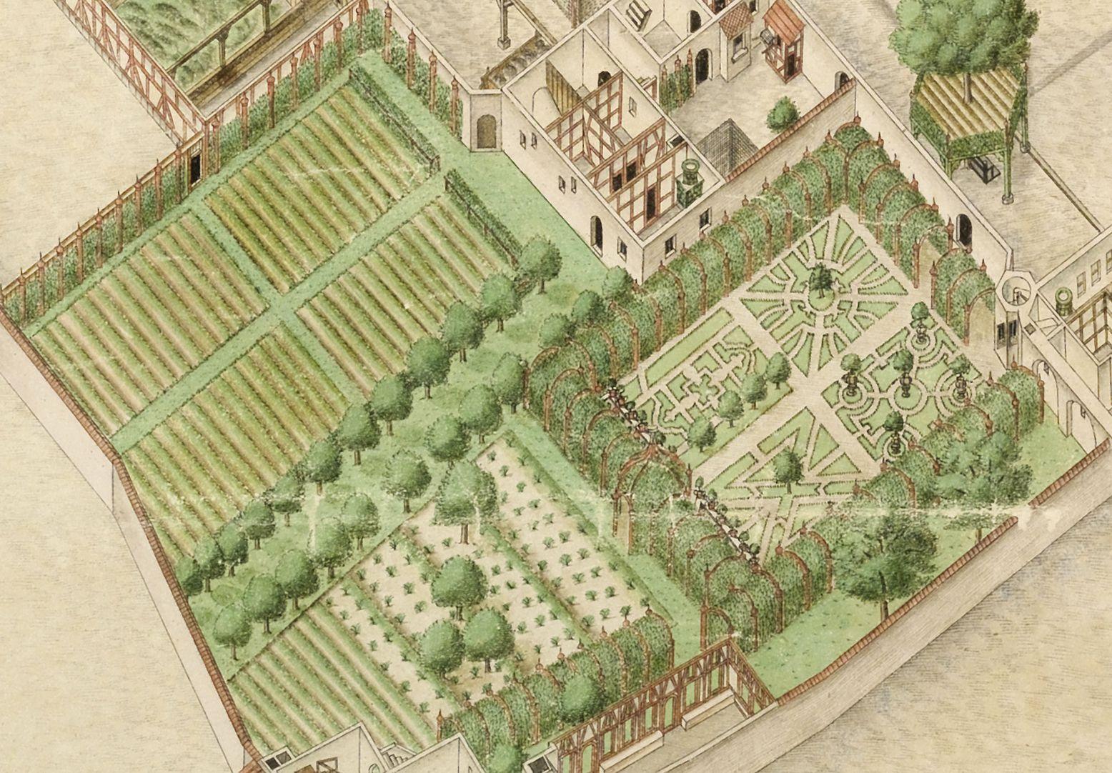 Isometrische Darstellung der Gesamtanlage des Deutschen Hauses in Nürnberg mit Einblick in die Erdgeschosse Zier- und Nutzgärten