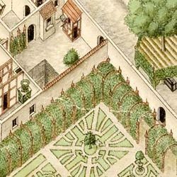 Isometrische Darstellung der Gesamtanlage des Deutschen Hauses in Nürnberg mit Einblick in die Erdgeschosse