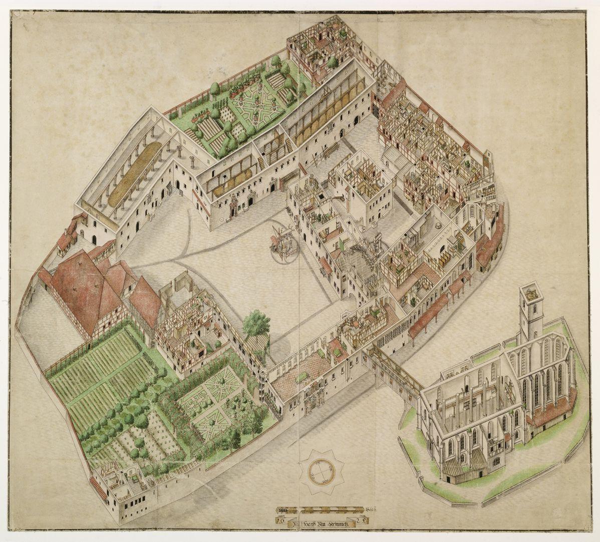 Isometrische Darstellung des Deutschen Hauses zu Nürnberg aus der Vogelschau mit Einblick in die obersten Geschosse Gesamtareal. Es handelt sich um die bis Dato genaueste Bestandsaufnahme eines Gebäudekomplexes überhaupt, das bis auf uns gekommen ist.