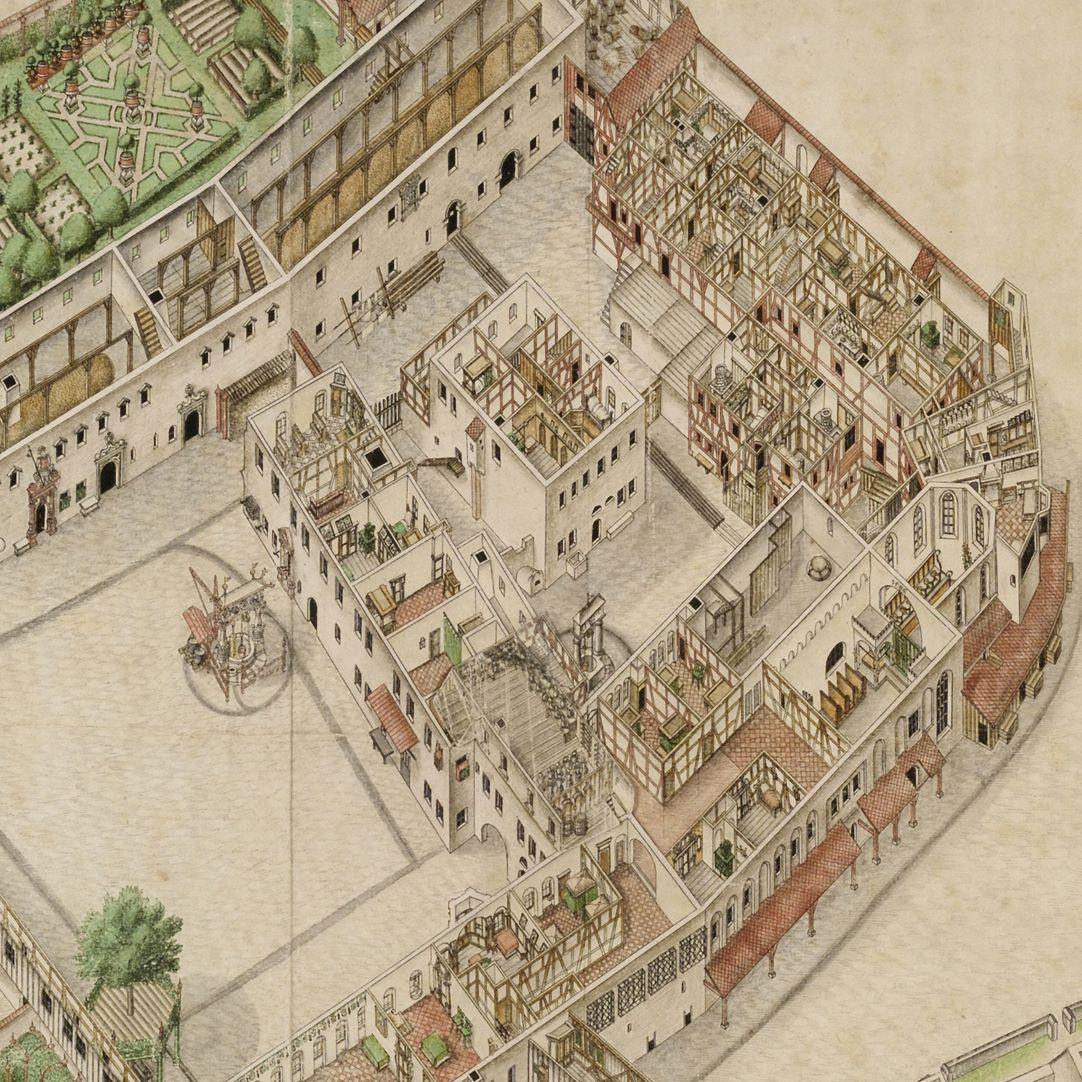 Isometrische Darstellung des Deutschen Hauses zu Nürnberg aus der Vogelschau mit Einblick in die obersten Geschosse Detailansicht