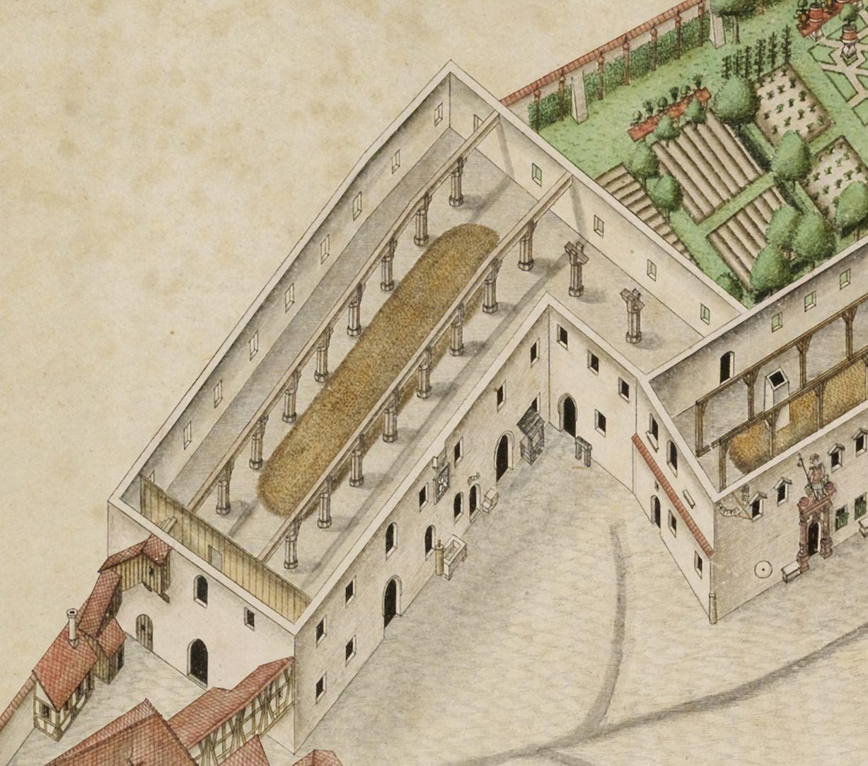 Isometrische Darstellung des Deutschen Hauses zu Nürnberg aus der Vogelschau mit Einblick in die obersten Geschosse Detail Kornspeicher mit mehrschiffigen Hallen