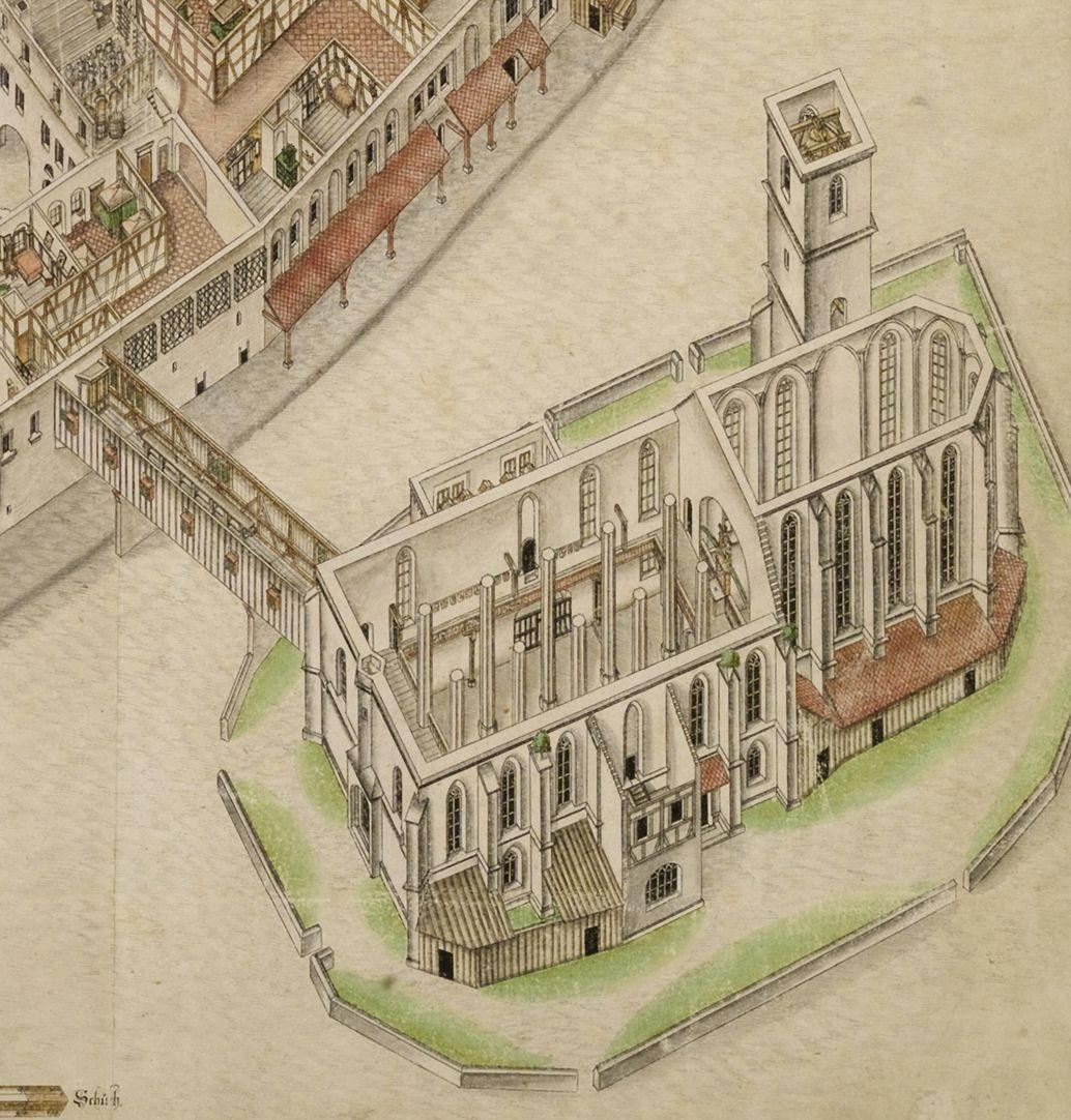 Isometrische Darstellung des Deutschen Hauses zu Nürnberg aus der Vogelschau mit Einblick in die obersten Geschosse Detail Jakobskirche (man beachte den durch einen Lettner vom Langhaus getrennten Chor)