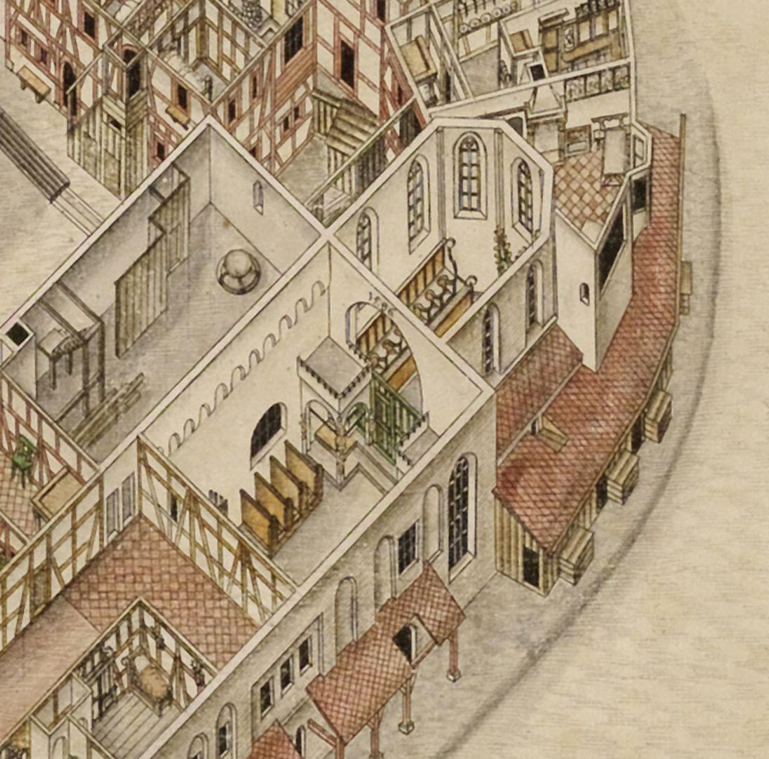 Isometrische Darstellung des Deutschen Hauses zu Nürnberg aus der Vogelschau mit Einblick in die obersten Geschosse Detail Elisabethkapelle mit Chor und Emporenkapelle der Pfründner