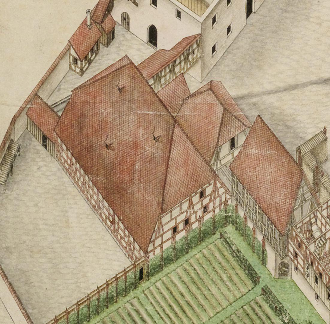 Isometrische Darstellung des Deutschen Hauses zu Nürnberg aus der Vogelschau mit Einblick in die obersten Geschosse Detail großer Stadel neben dem Nutzgarten