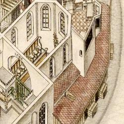 Isometrische Darstellung des Deutschen Hauses zu Nürnberg aus der Vogelschau mit Einblick in die obersten Geschosse