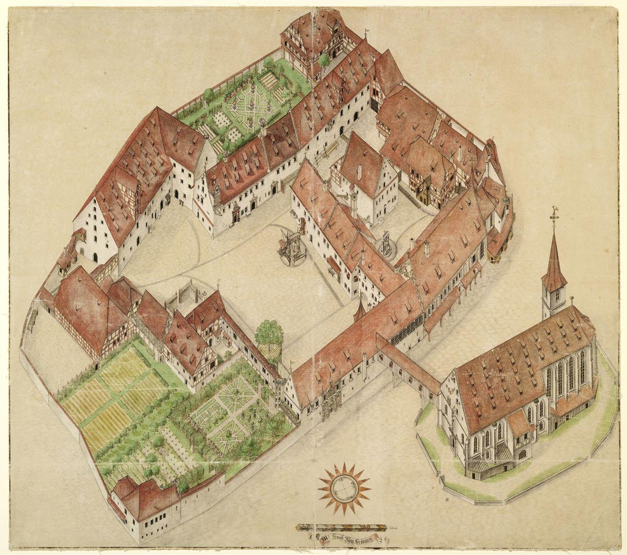 Isometrischer Riss des Deutschen Hauses zu Nürnberg aus der Vogelschau, von Südwest ausgesehen Gesamtansicht. Es handelt sich um die bis Dato genaueste Bestandsaufnahme eines Gebäudekomplexes überhaupt, das bis auf uns gekommen ist.