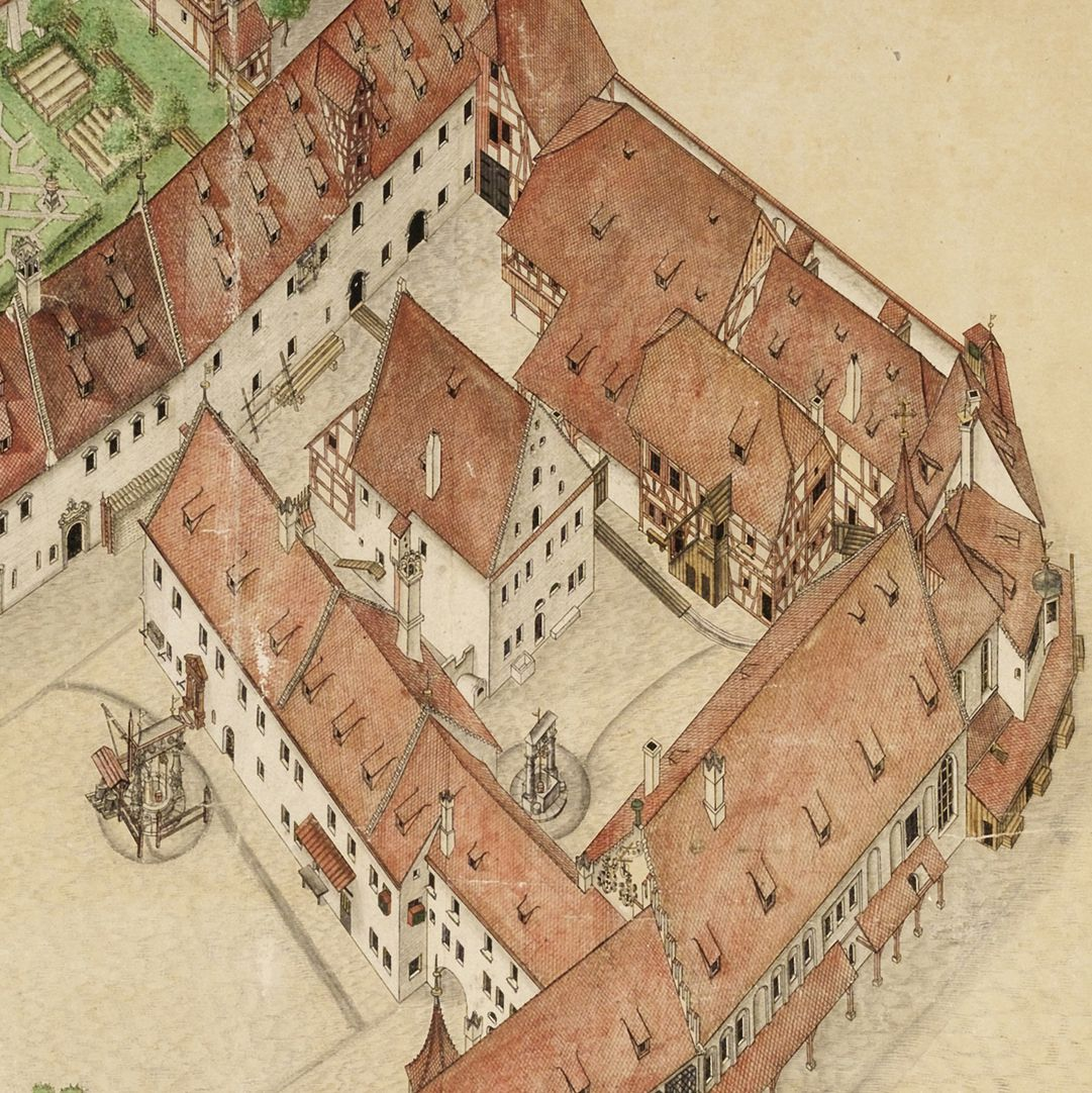 Isometrischer Riss des Deutschen Hauses zu Nürnberg aus der Vogelschau, von Südwest ausgesehen Detailansicht: oben links Malzkasten, unten links Hofreuth, rechts Bebauung um Spitalhof