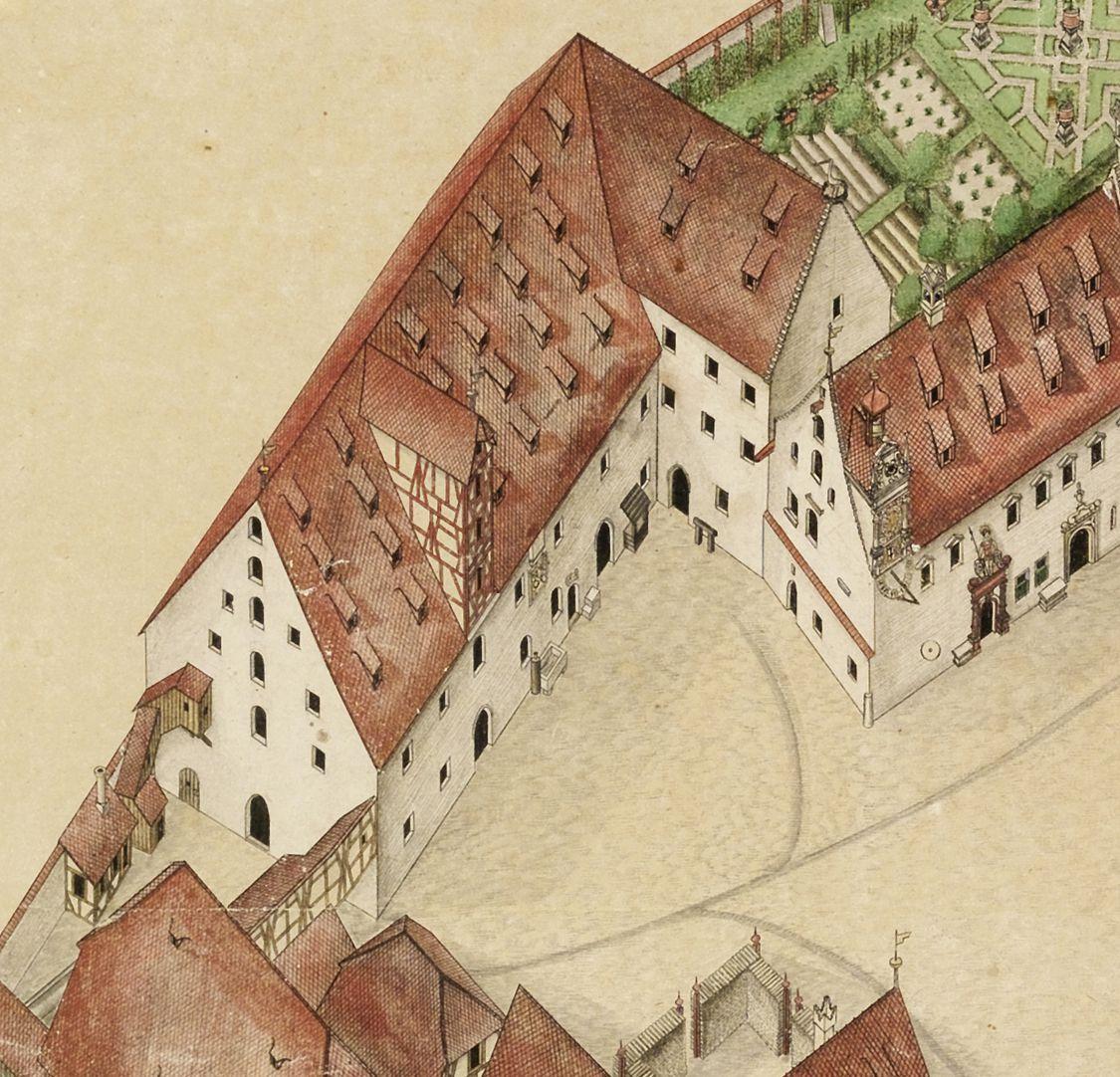 Isometrischer Riss des Deutschen Hauses zu Nürnberg aus der Vogelschau, von Südwest ausgesehen Kornspeicher mit ebenerdigen Stallungen