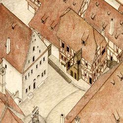 Isometrischer Riss des Deutschen Hauses zu Nürnberg aus der Vogelschau, von Südwest ausgesehen