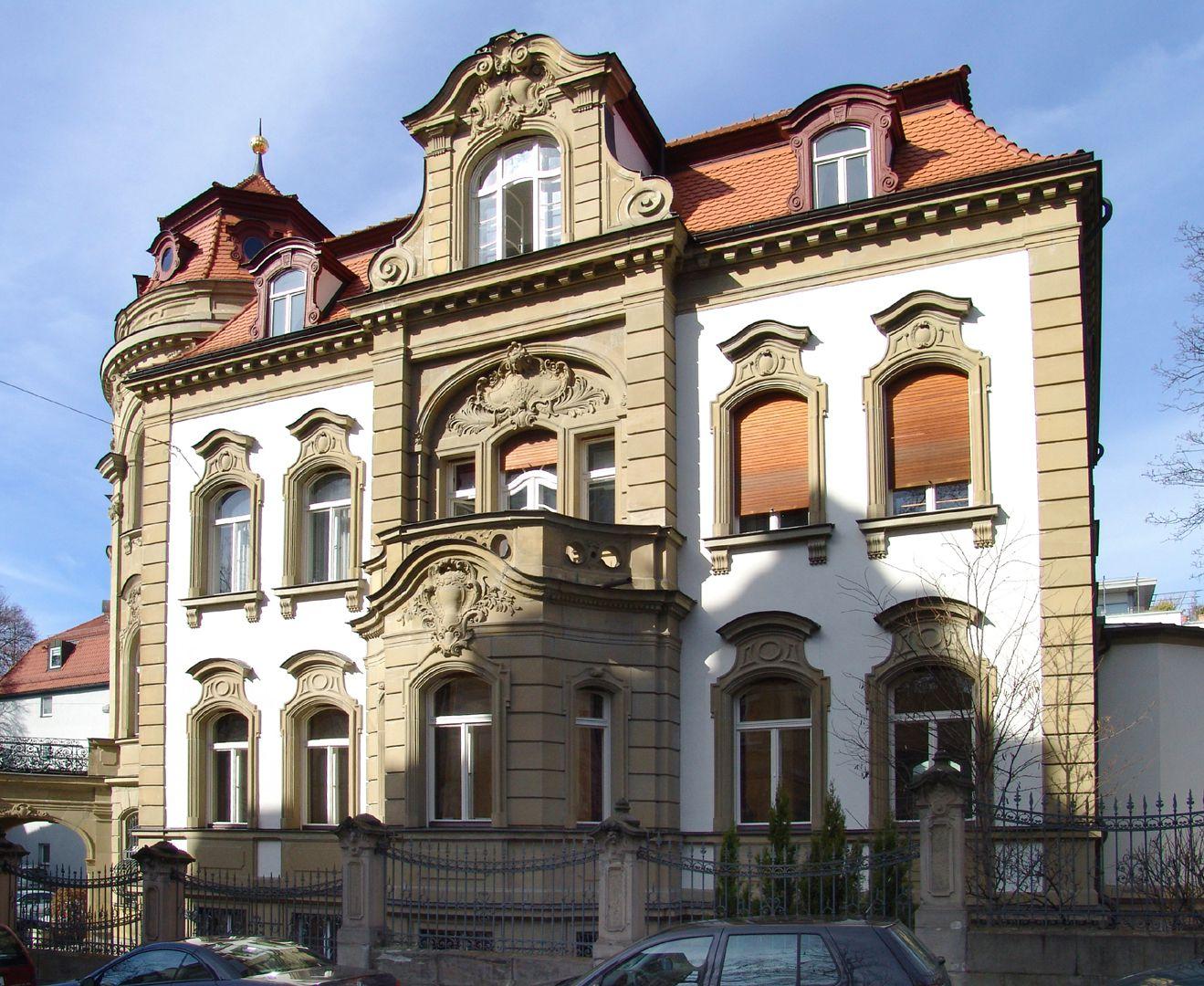 """Campestraße 10, ehem. """"Villa Kohn"""" Originalzustand an der Frommannstraße"""