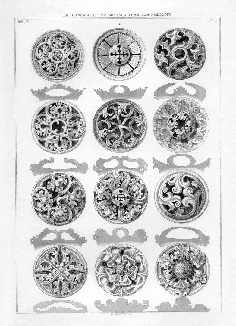 Ornamentik des Mittelalters Rosetten aus dem Rosenzimmer der Veste Coburg