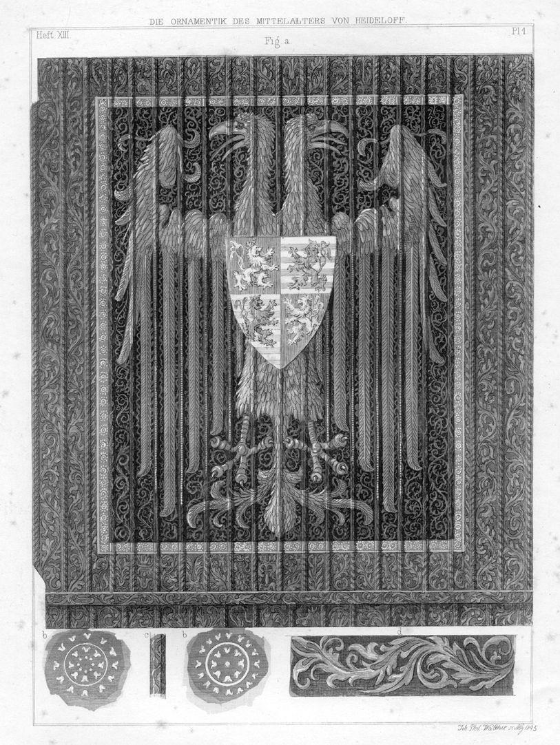 Ornamentik des Mittelalters Nürnberg, Kaiserburg, Doppeladler-Decke, das Wappen auf der Adlerbrust ist eine Invention Heideloffs.