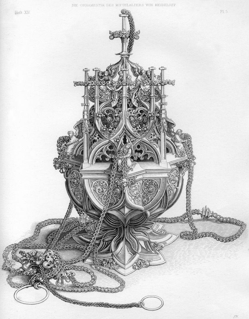 Ornamentik des Mittelalters Kopie des Weihrauchfassstiches von Martin Schongauer aus Colmar.