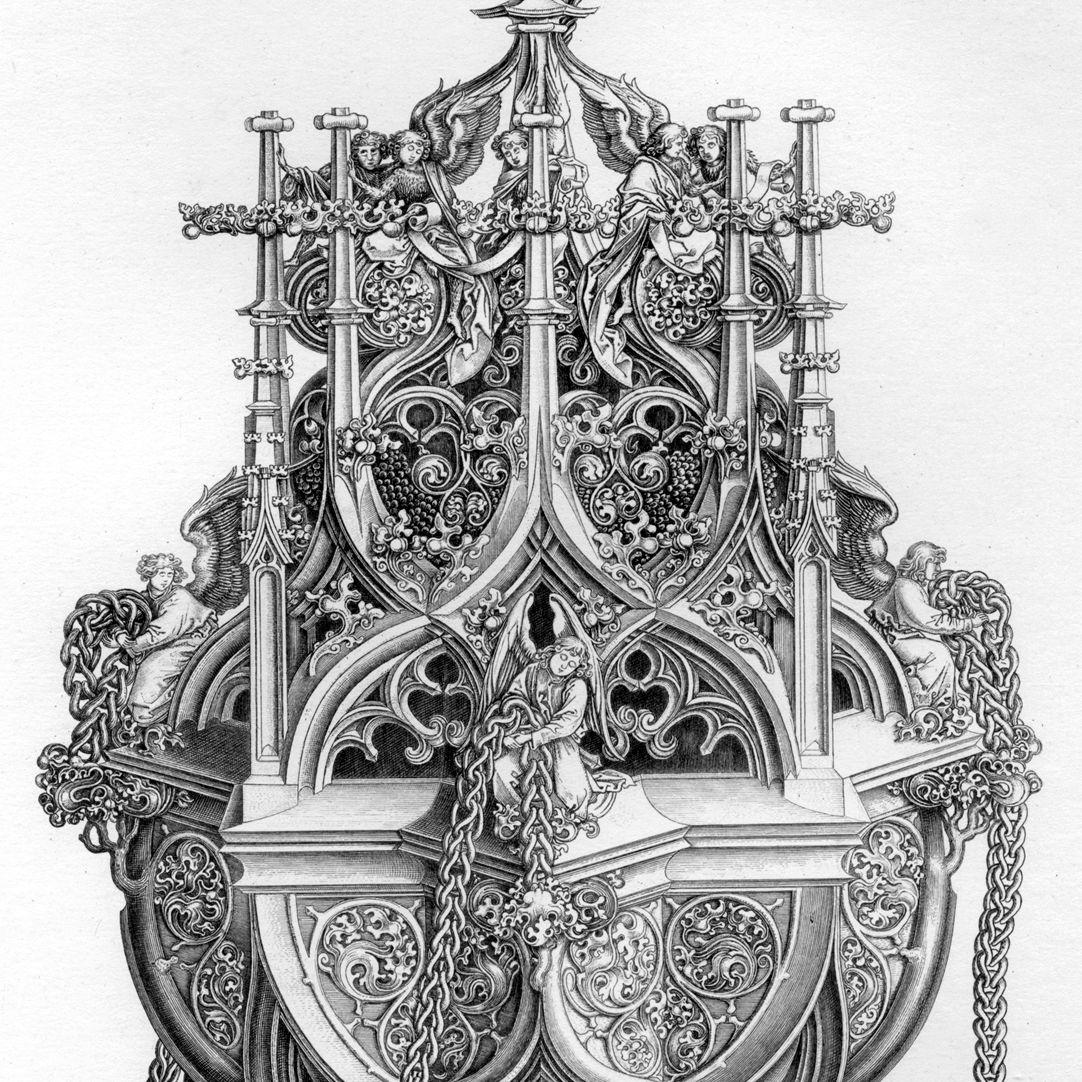 Ornamentik des Mittelalters Kopie des Weihrauchfassstiches von Martin Schongauer aus Colmar.Detail