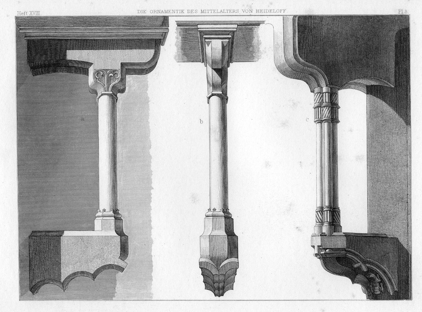 Ornamentik des Mittelalters Ellbogenstützen von großem Rathaushof in Nürnberg
