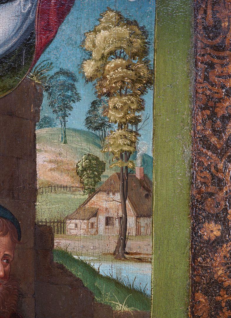 Heilige Sippe Bildausschnitt oberes Bilddrittel mit fränkischer Landschaft im Hintergrund