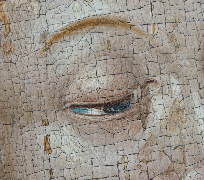 Heilige Sippe Kopf der Maria, Detail des linken Auges