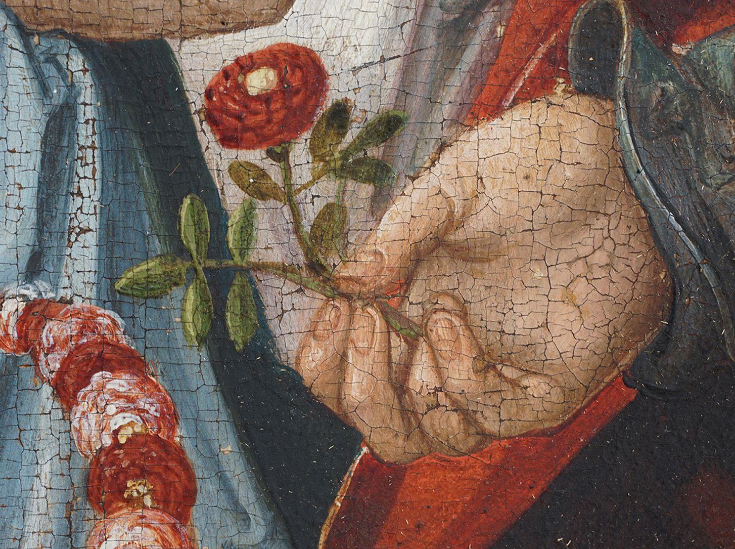 Heilige Sippe Anna, Hand mit Blume