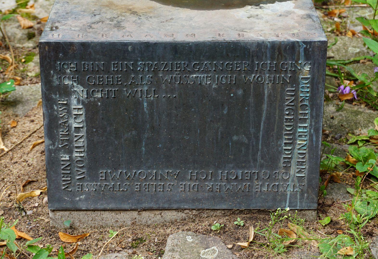 Hermann Kesten Inschrift an der Vorderseite