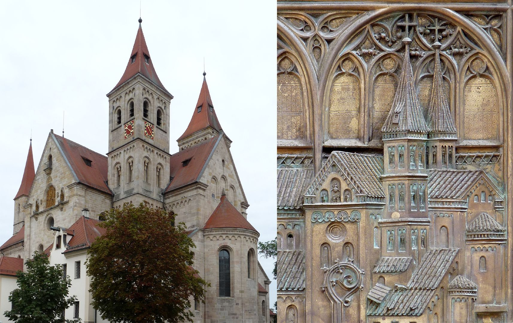 Memorienplatte für Hariolf und Erlolf Bildvergleich der Basilika von Südost mit dem Kirchenmodell