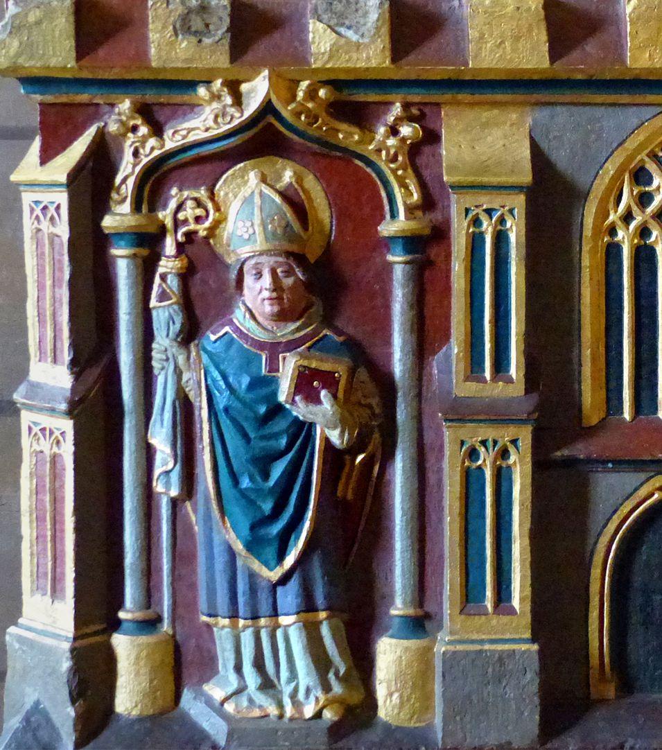 Deocarusschrein (Herrieden) östliche Schreinseite, Willibald (741 von Bonifatius zum Bischof geweiht)