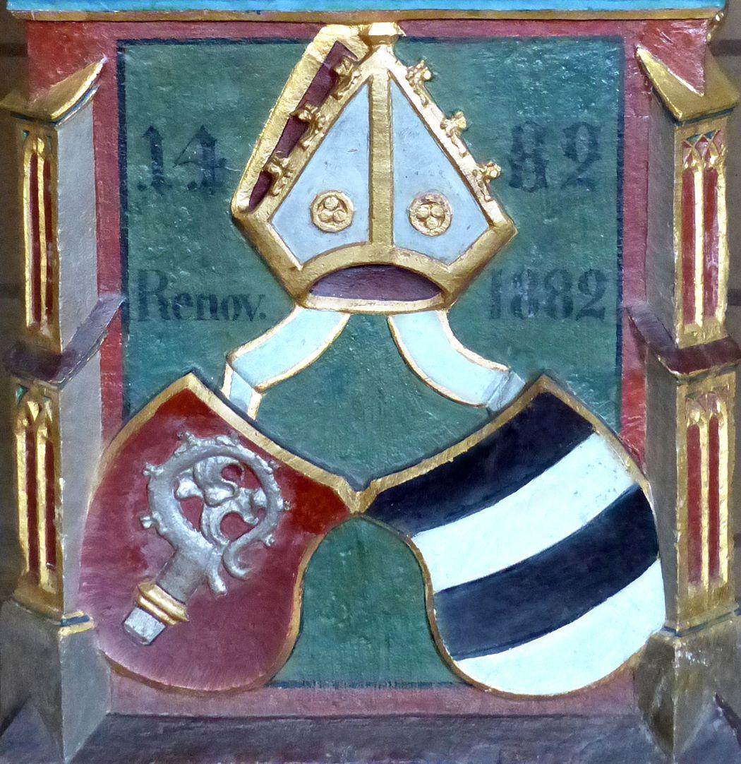 Deocarusschrein (Herrieden) Wappen des Bischohfs Wilhelm von Reichenau mit Inschrift: 1482 und renov. 1882