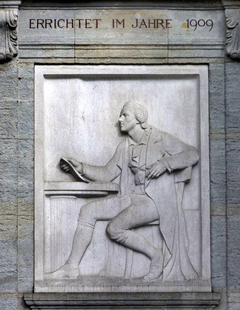 """Schillerdenkmal Marmorrelief, """"Schillers Dichtkunst ruht auf einer klassichen Säule"""""""