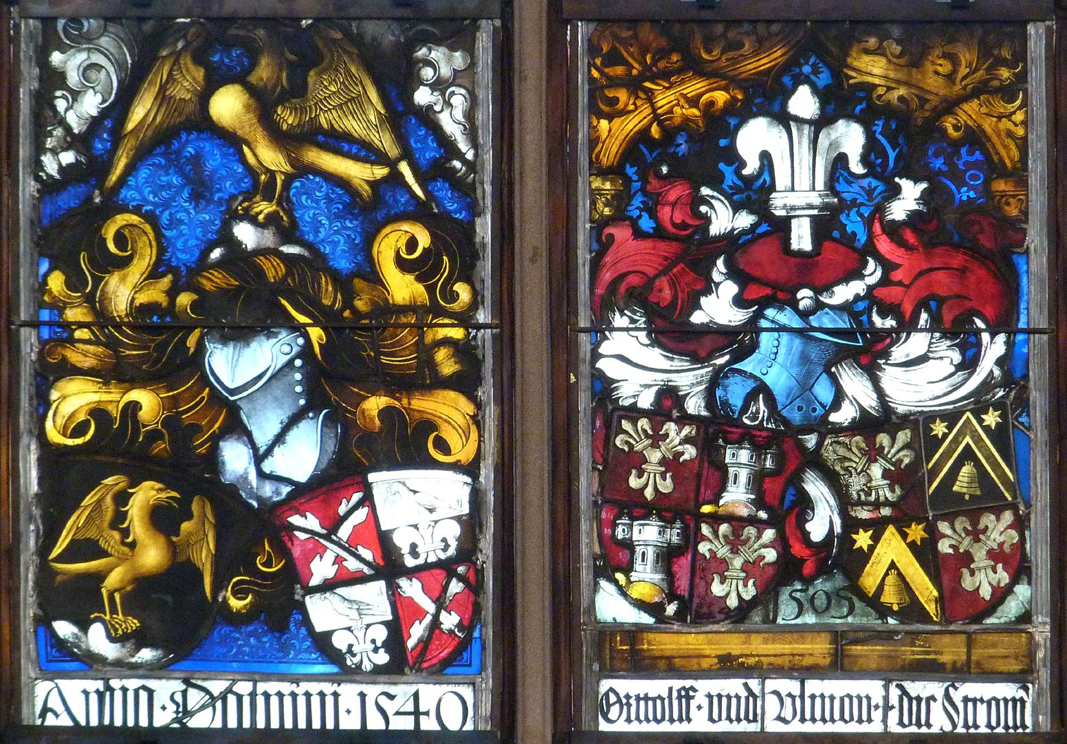 Hirschvogelfenster Mittelfeld: oberstes Band, Allianzwappen 1540 (links), Allianzwappen Stromer 1505 (rechts)