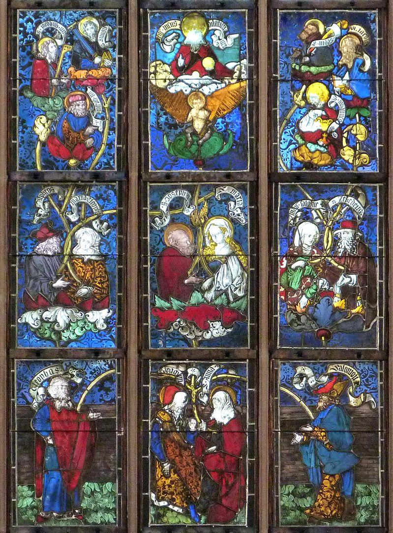 Hirschvogelfenster Mittelfeld: Darstellung der Heiligen Sippe. In der Mittelachse von unten nach oben Joachim und Anna, Maria und Joseph und das Jesuskind.