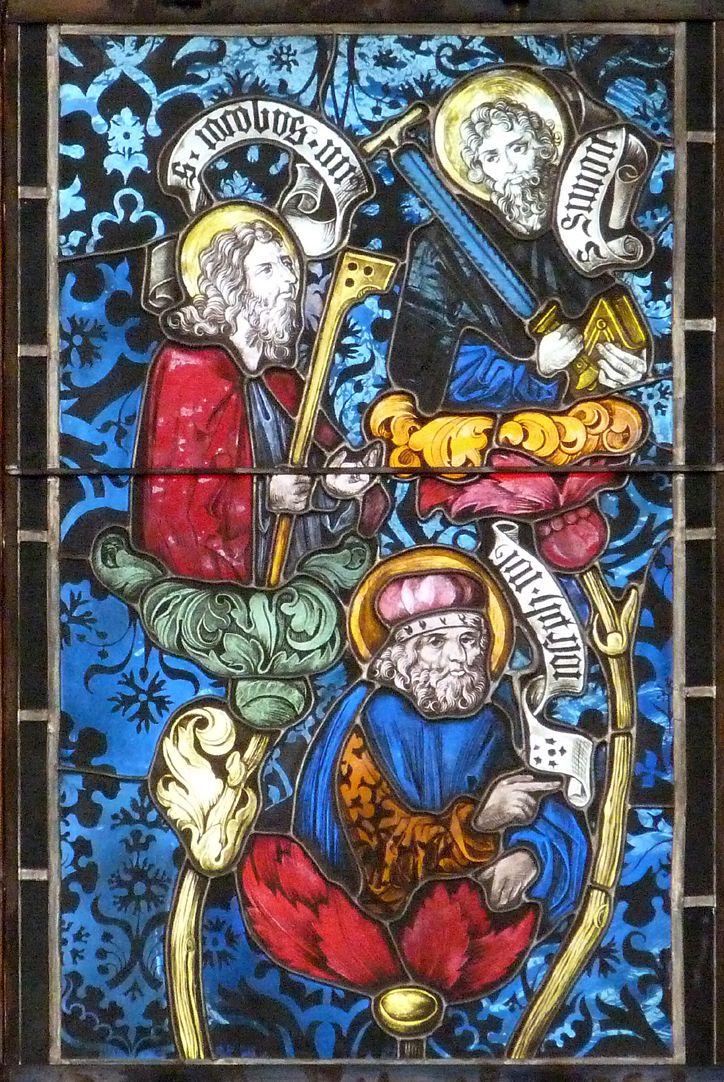 Hirschvogelfenster Heilige Sippe, Äste mit Jakobus dem Jüngeren, Simon und Joseph Justus