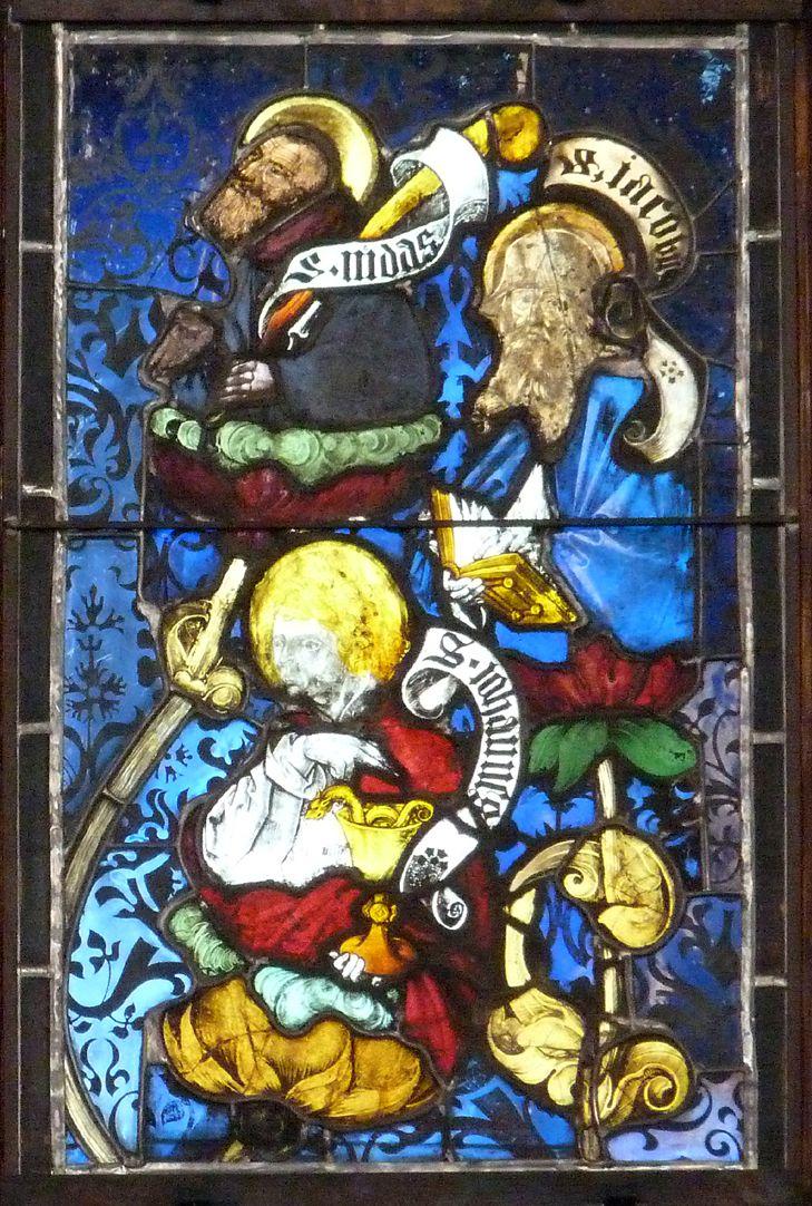 Hirschvogelfenster Heilige Sippe, Judas, Jakobus Major und Johannes