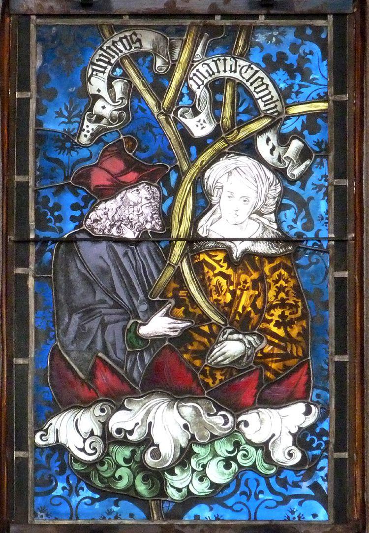 Hirschvogelfenster Heilige Sippe, Maria Cleophas und Alpheus