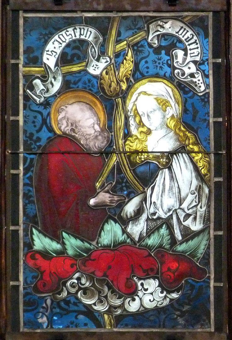 Hirschvogelfenster Heilige Sippe, Joseph und Maria (Neuschaffung)
