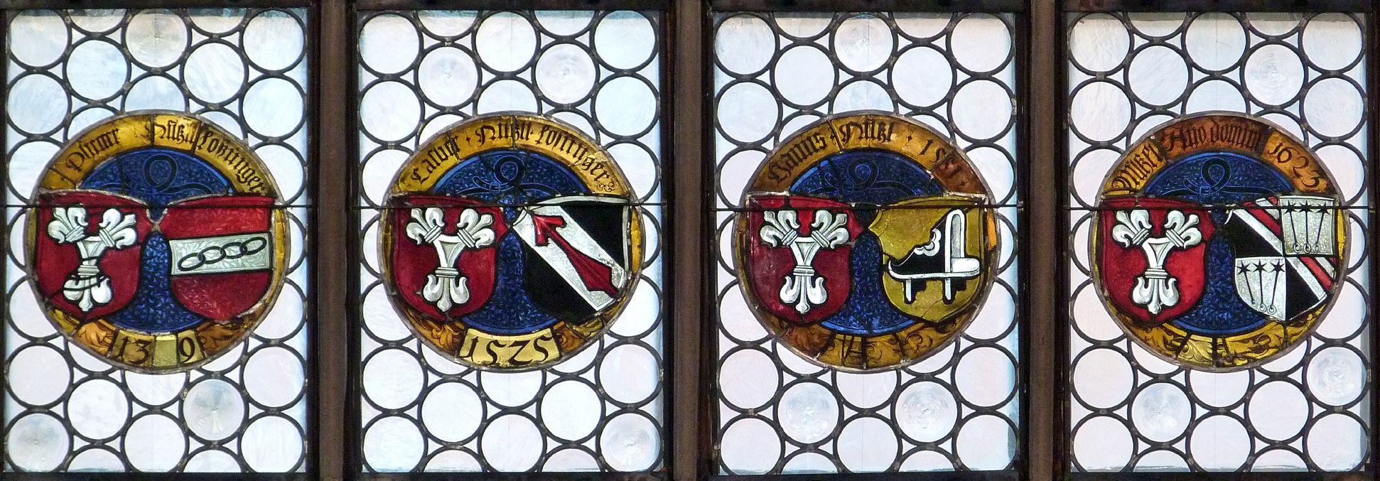 Hirschvogelfenster Reihe runder Allianzwappenscheiben