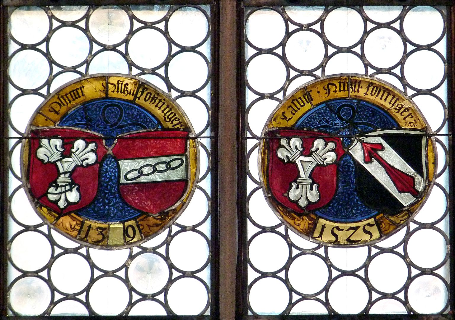 Hirschvogelfenster Reihe runder Allianzwappenscheiben, linke Hälfte