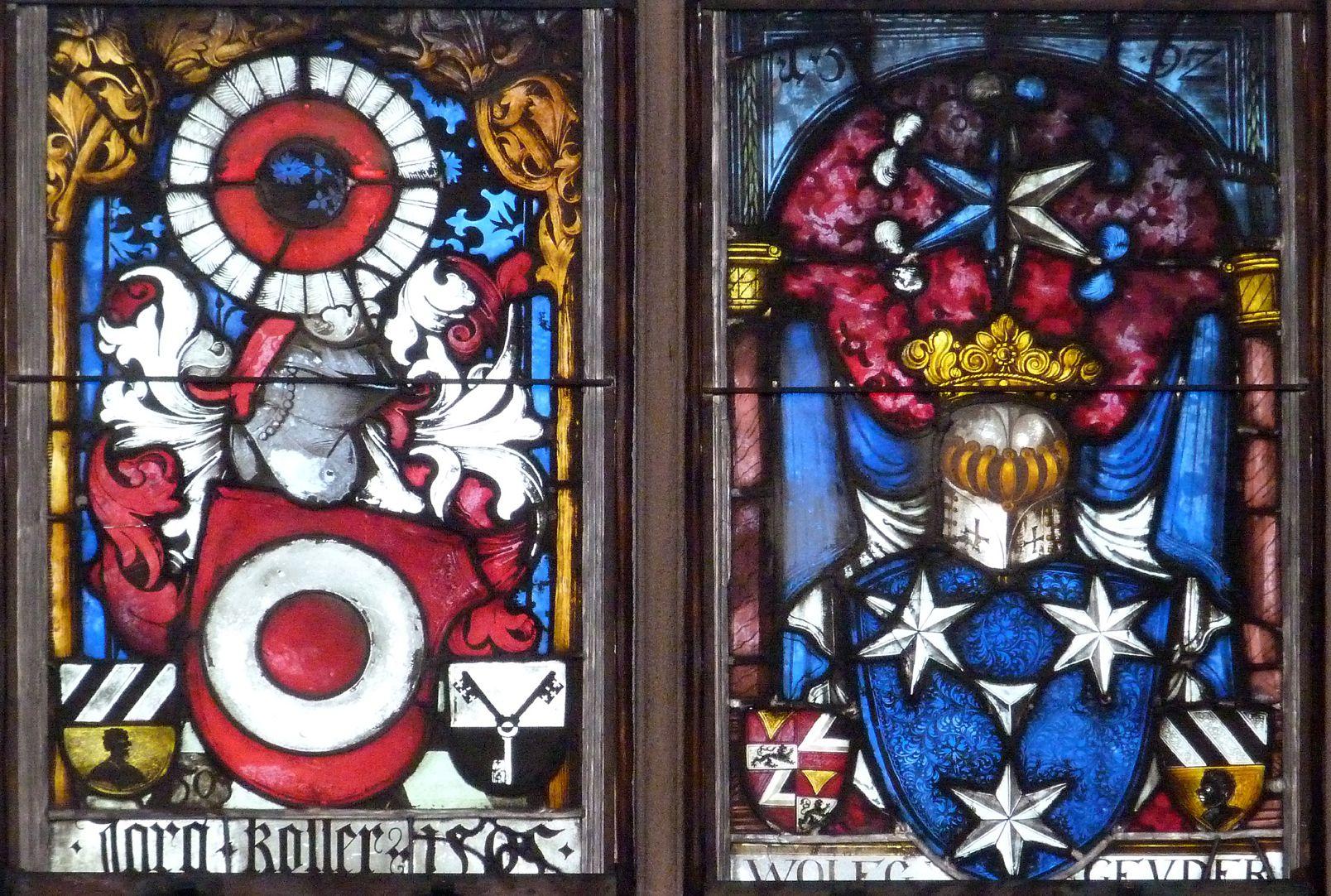 Hirschvogelfenster Mittelfeld: oberstes Band, Wappen Koler 1505 (links), Wappen Geuder von Heroldsberg 1592 (rechts)