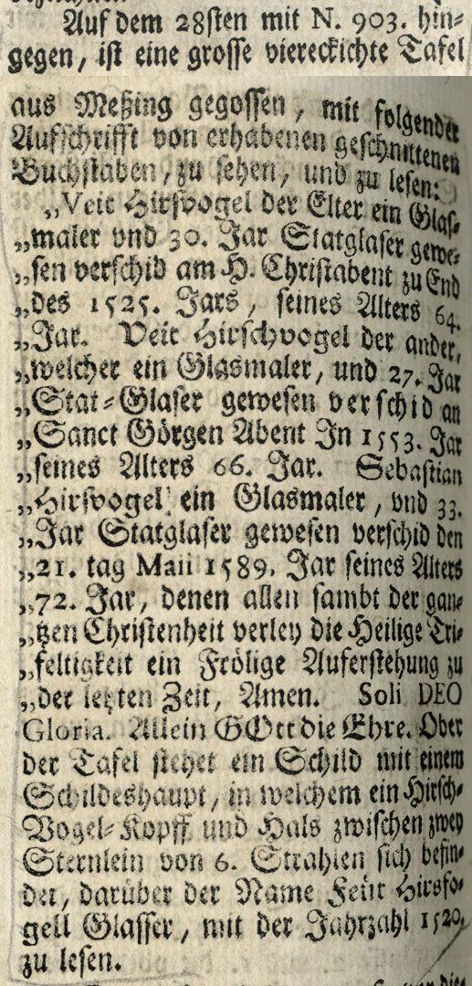 "Hirsvogel Epitaph Auszug aus Joh. Martin Trechsels, Großkopf genannt: ""Verneuertes Gedächtnis des nürnbergischen Johannis Kirch Hof ..."" , Franckf. & Leipzig 1735"