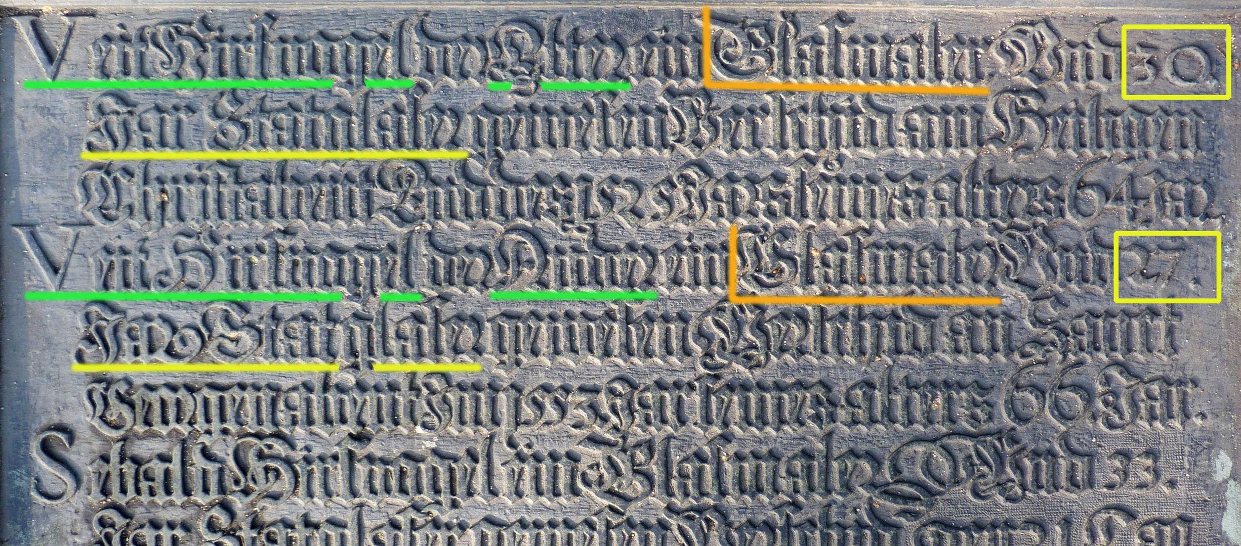 Hirsvogel Epitaph oberer Teil der Tafel mit Eintrag Veit Hirsvogel d.Ä. und Veit Hirsvogel d.J. / Markierung (Name, Glasmaler, Jahre als Stadtglaser)