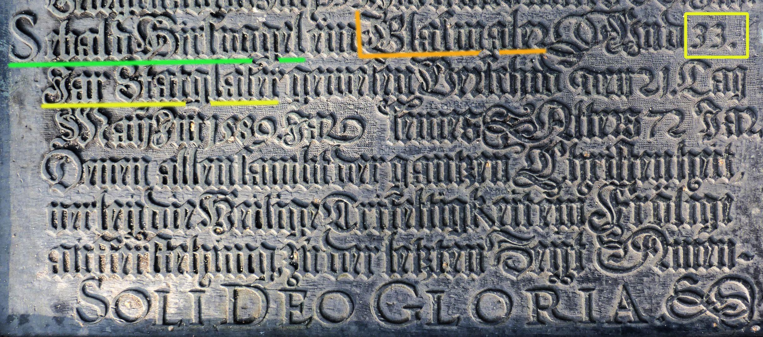 Hirsvogel Epitaph unterer Teil der Tafel mit Eintrag Sebald Hirsvogel / Markierung (Name, Glasmaler, Jahre als Stadtglaser)