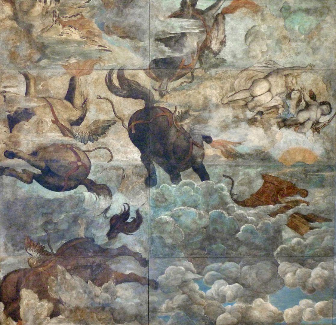 Der Sturz des Phaethon, Deckengemälde linkes Bilddrittel
