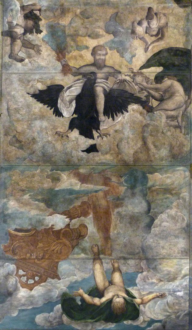 Der Sturz des Phaethon, Deckengemälde Bildmitte mit Zeus und stürzendem Phaethon