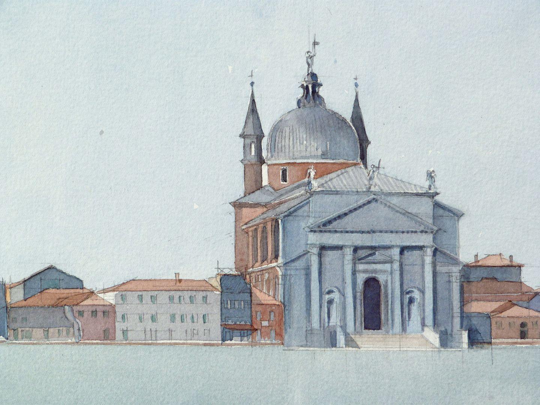 Il Redentore (Venedig) Ufersituation mit Kirchenbau von Andrea Palladio