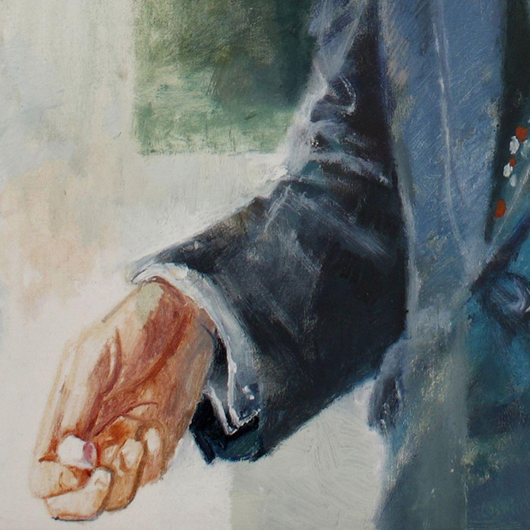 Bildnis Prof. Dr. Bernhard Ilschner Detailansicht, rechte Hand mit einem Stück Kreide