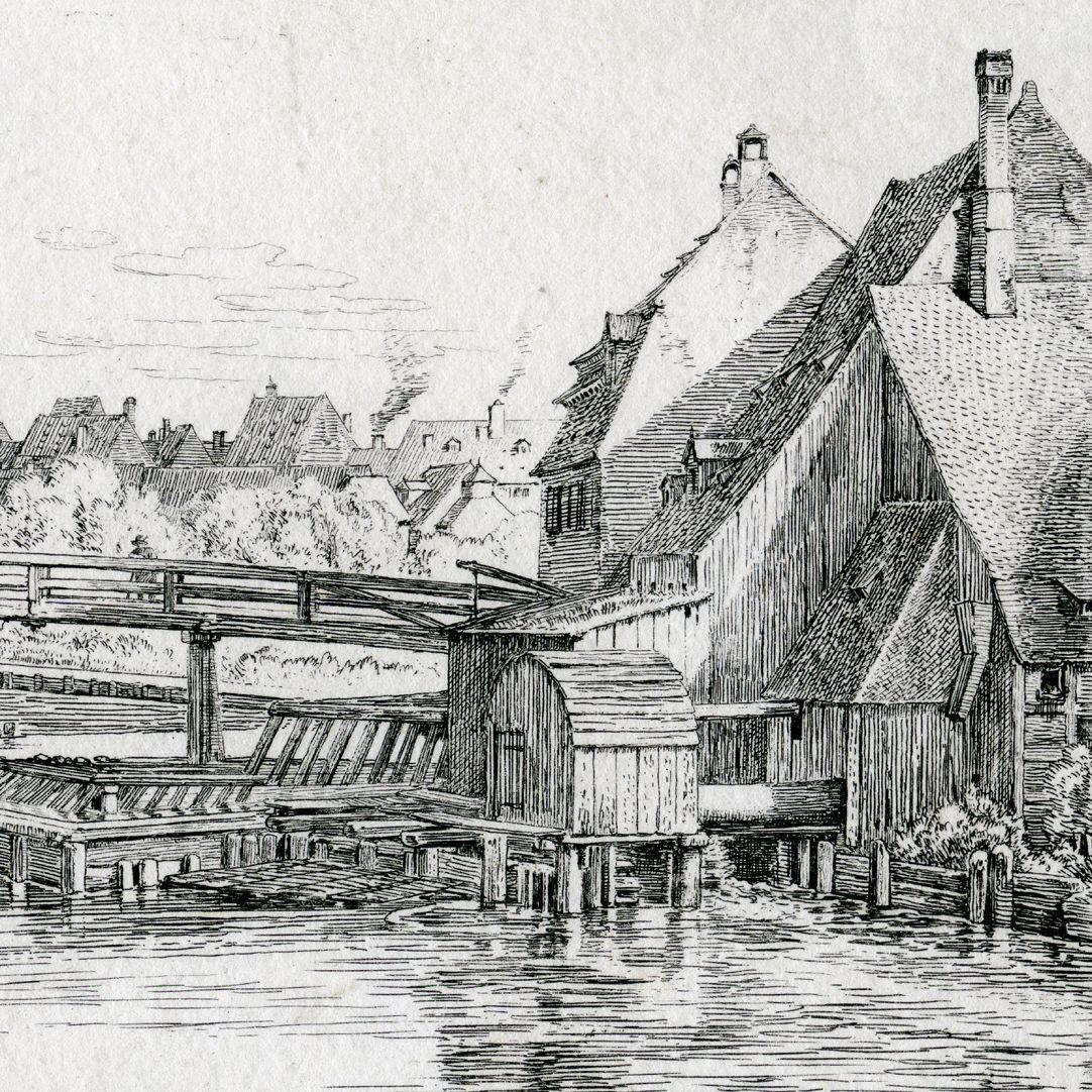 In der Nähe der Weidenmühle, bei Nürnberg rechte Bildhälfte mit Großweidenmühle