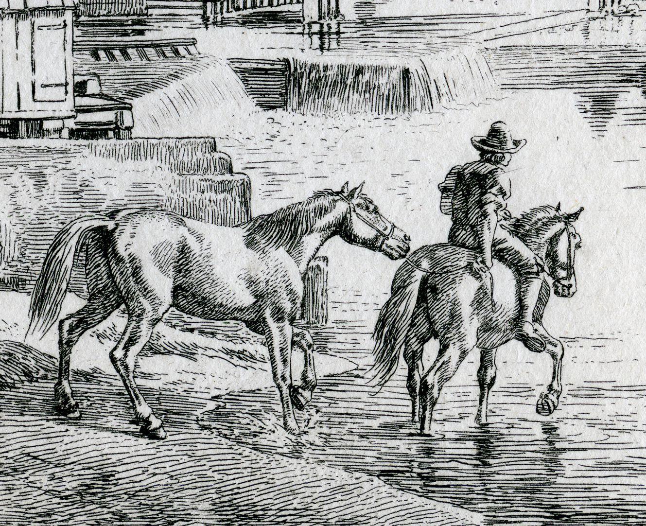 In der Nähe der Weidenmühle, bei Nürnberg Detail mit Pferden und Reiter