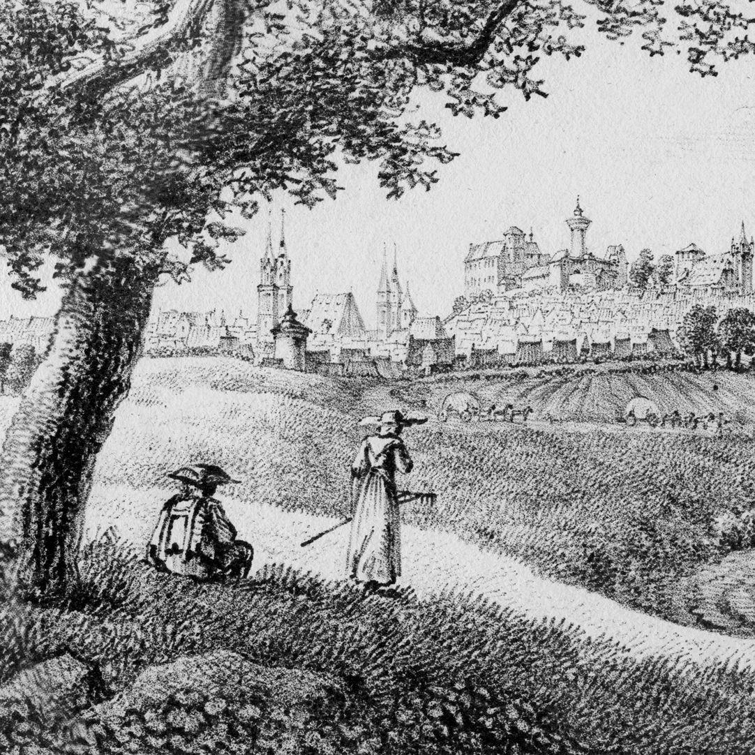 Nürnberger Stadtansicht von Nordost Detail mit Bauersleuten und Stadtsilhouette von Nürnberg