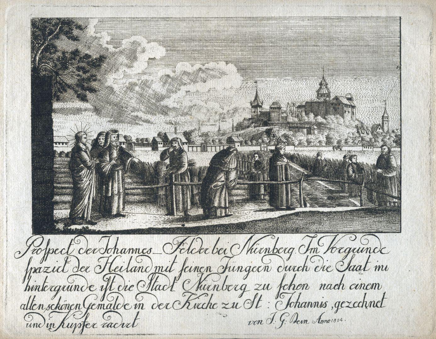 Prospect der Johannes_Felder bei Nürnberg Bild mit Inschrift