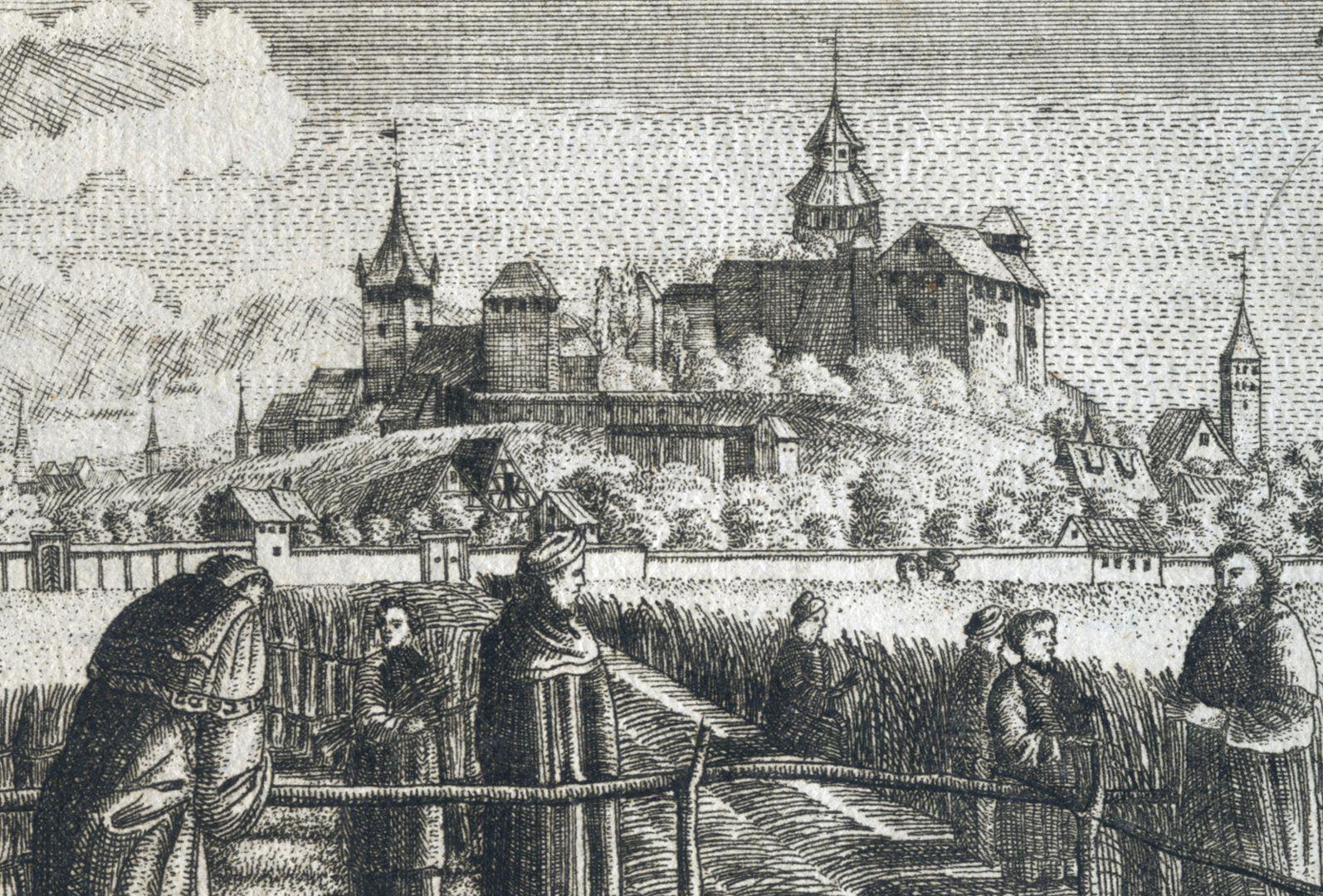 Prospect der Johannes_Felder bei Nürnberg Detail mit Nürnberger Burg im Hintergrund
