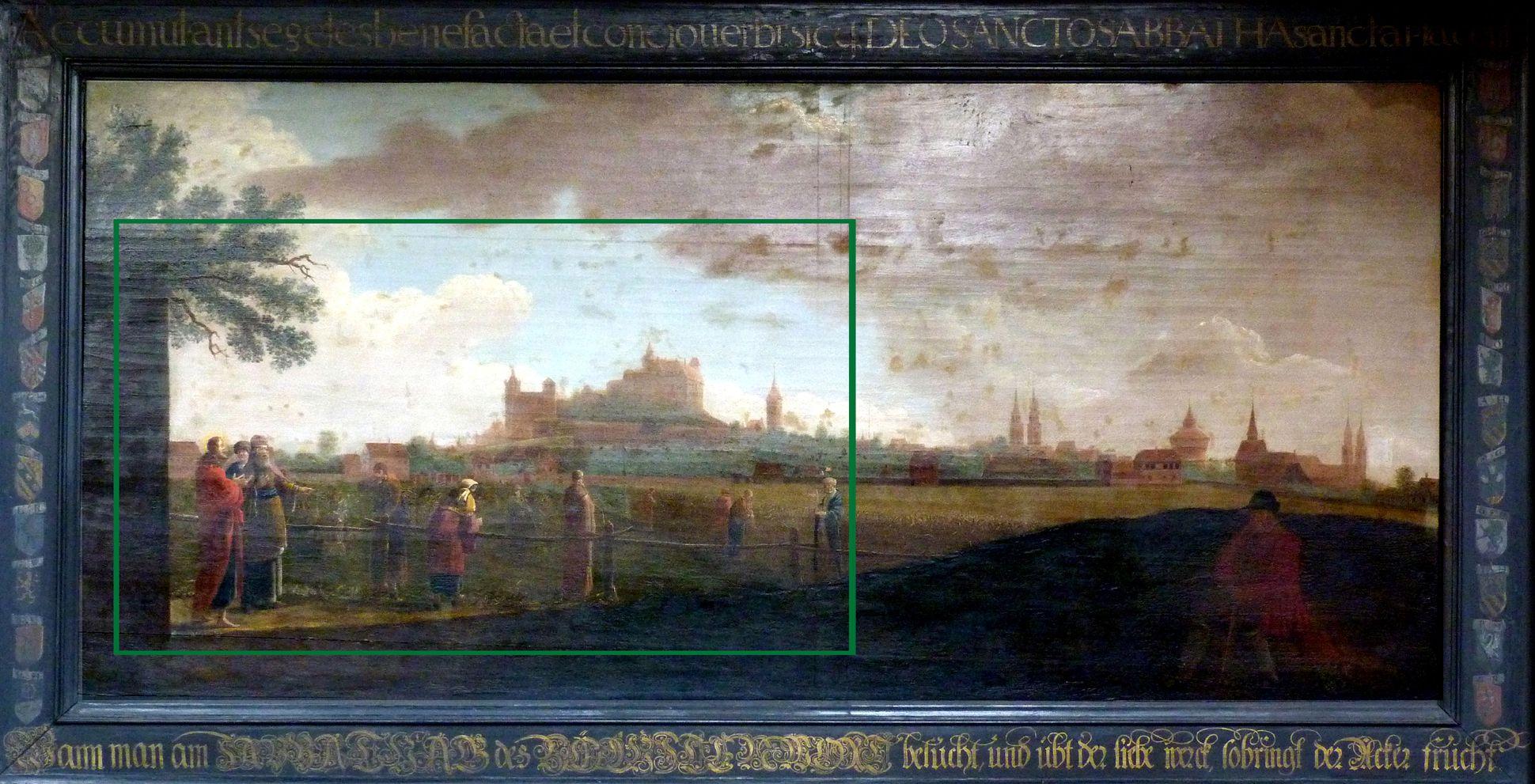 Prospect der Johannes_Felder bei Nürnberg Gemälde von Wittig in der Johanniskirche mit den von Dein wiedergegebenen Bildausschnitt